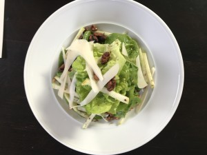 Tre Posti ~ Living Butter Lettuces with Apples, Candied Walnuts and Shaved Midnight Moon