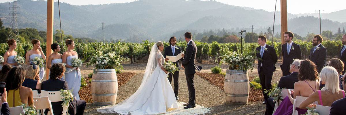 beautiful Tre Posti wedding vineyard setting
